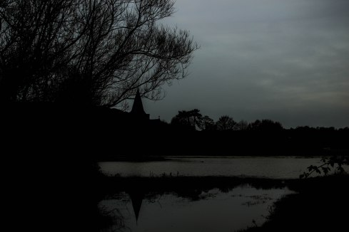 Alfriston over the flooded River Cuckmere South Downs