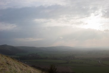 The view west on a hazy spring afternoon